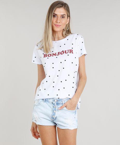 Blusa-Feminina--Bonjour--Estampada-de-Poa-Manga-Curta-Decote-Redondo-Branca-9318283-Branco_1