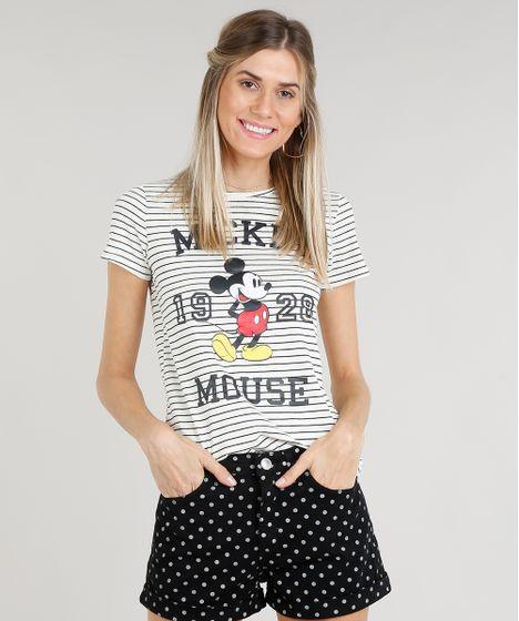 909597212 Blusa Feminina Mickey Mouse Listrada Manga Curta Decote Redondo Off ...