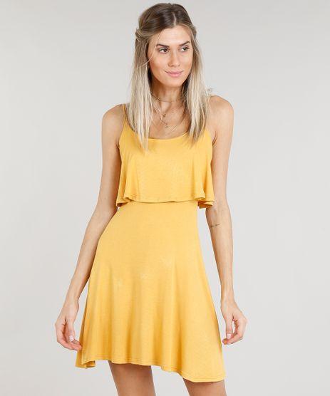 Vestido-Feminino-Curto-Evase-com-Sobreposicao-Alcas-Finas-Decote-Redondo-Mostarda-9299017-Mostarda_1