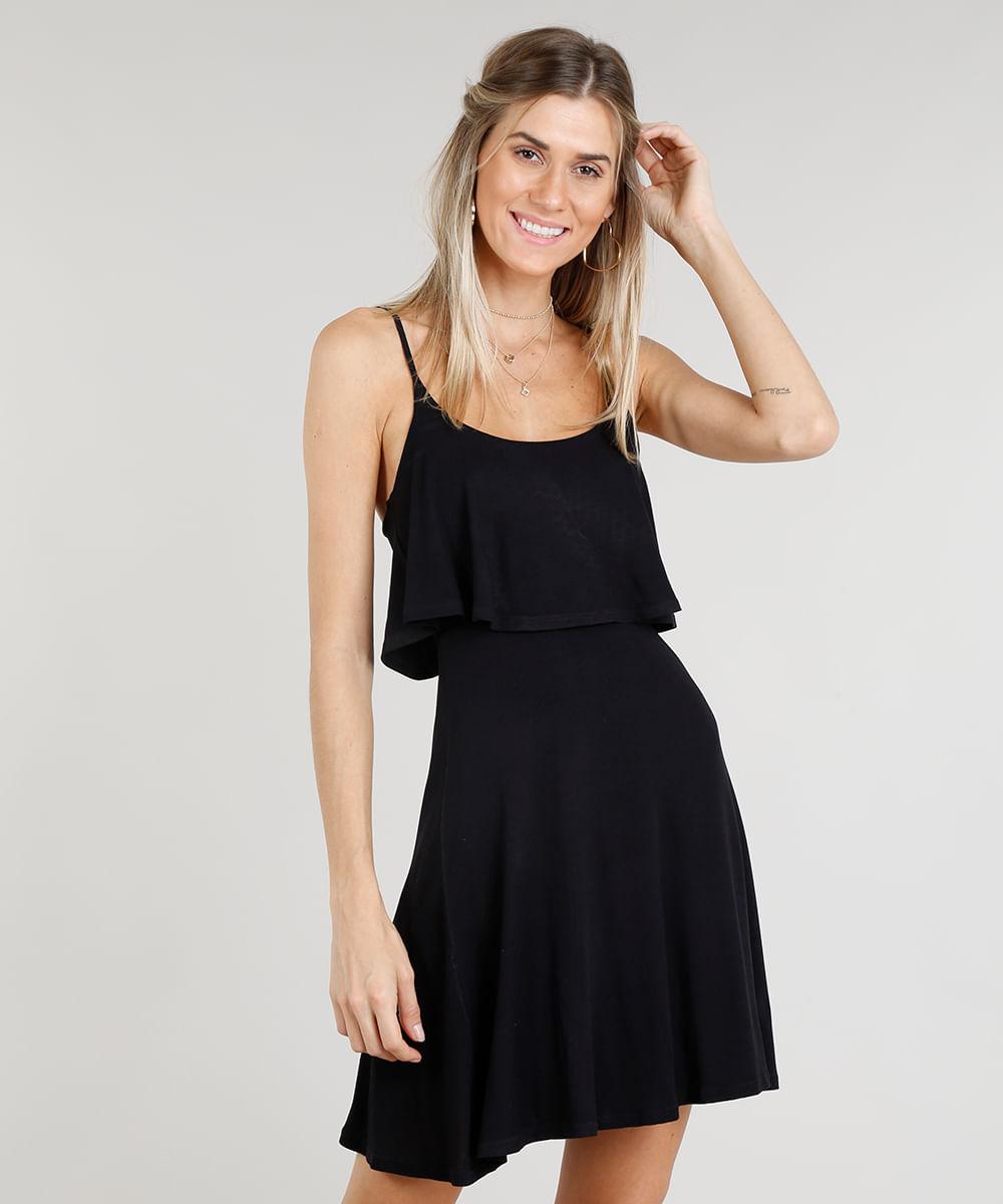 631383e92 Vestido Feminino Curto Evasê com Sobreposição Alças Finas Decote ...