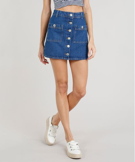 2899ded25 Saia Jeans Feminina Curta com Botões Azul Escuro - cea