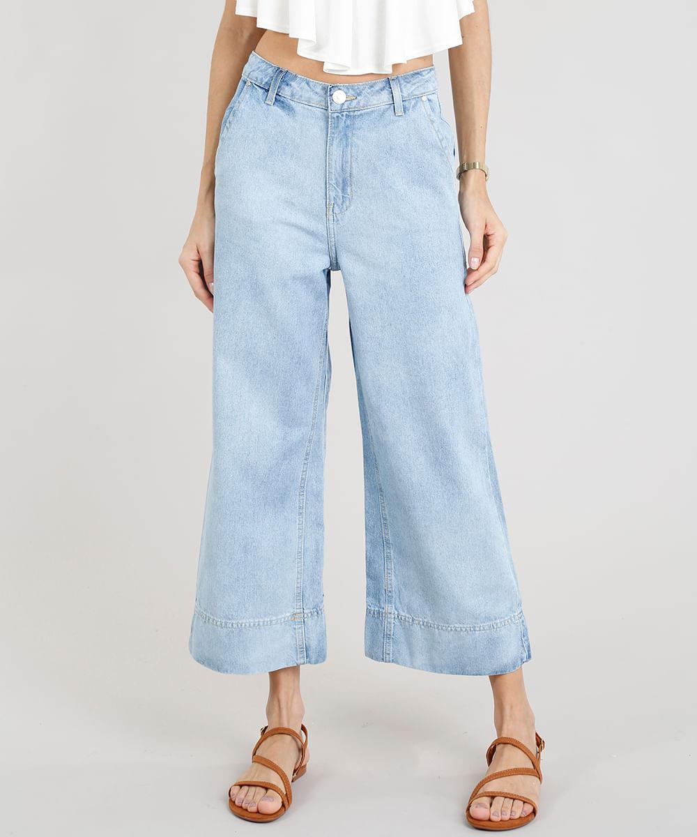 bb01cebb0 Calça Jeans Pantacourt Feminina com Barra Larga Azul Claro - cea