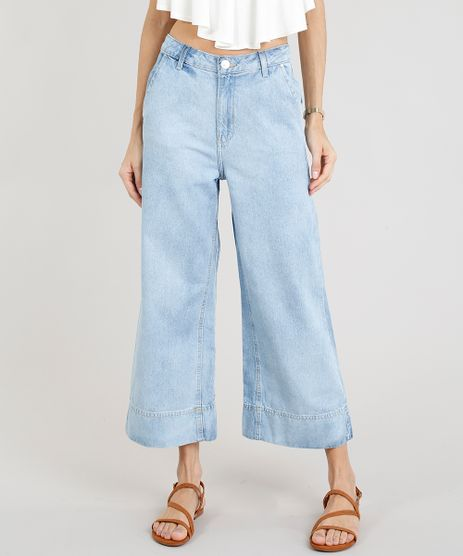 Calca-Jeans-Pantacourt-Feminina-com-Barra-Larga-Azul-Claro-9327839-Azul_Claro_1