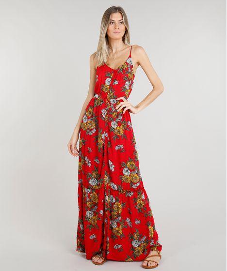 b2109307d Vestido Feminino Longo Estampado Floral Alças Finas Decote Redondo ...