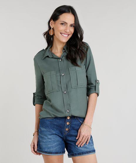 Camisa-Feminina-com-Bolsos-Manga-Longa-Verde-Militar-9287367-Verde_Militar_1
