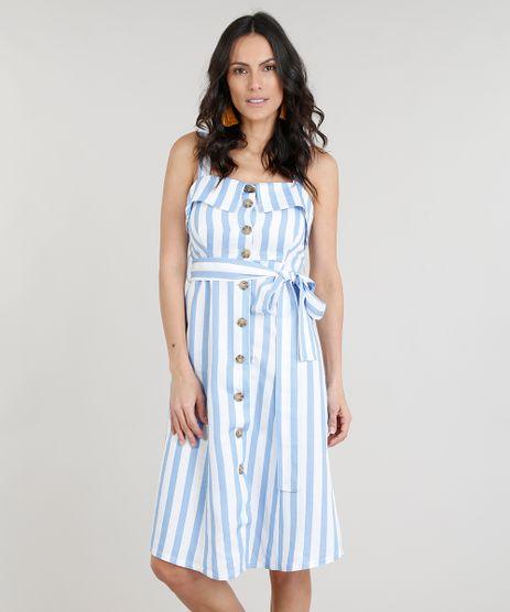 Vestido-Feminino-Midi-em-Linho-Listrado-com-Botoes-e-Faixa-Off-White-9246236-Off_White_1