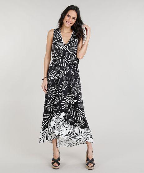 Vestido-Feminino-Longo-Transpassado-Estampado-de-Folhagens-Decote-V-Preto-9246234-Preto_1