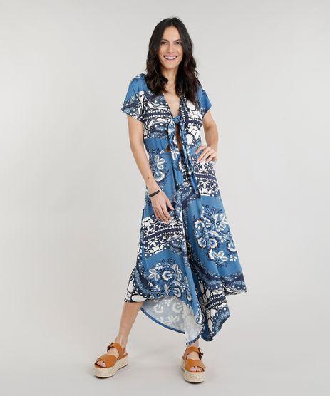 Macacao-Feminino-Pantacourt-Estampado-de-Arabescos-com-No-e-Vazado-Manga-Curta-Decote-V-Azul-9305124-Azul_1