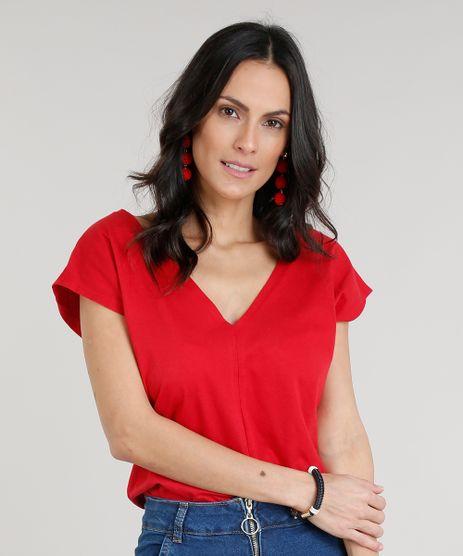Body-Feminino-Bluse-Manga-Curta-Decote-V-Vermelho-9299135-Vermelho_1