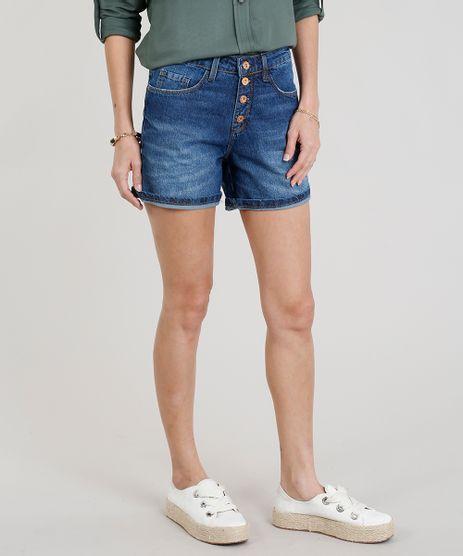 Short-Jeans-Feminino-Midi-com-Botoes-Azul-Escuro-9271819-Azul_Escuro_1