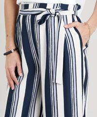 cc6306f77 Calça Pantacourt Feminina Listrada com Faixa de Amarrar Azul Marinho ...