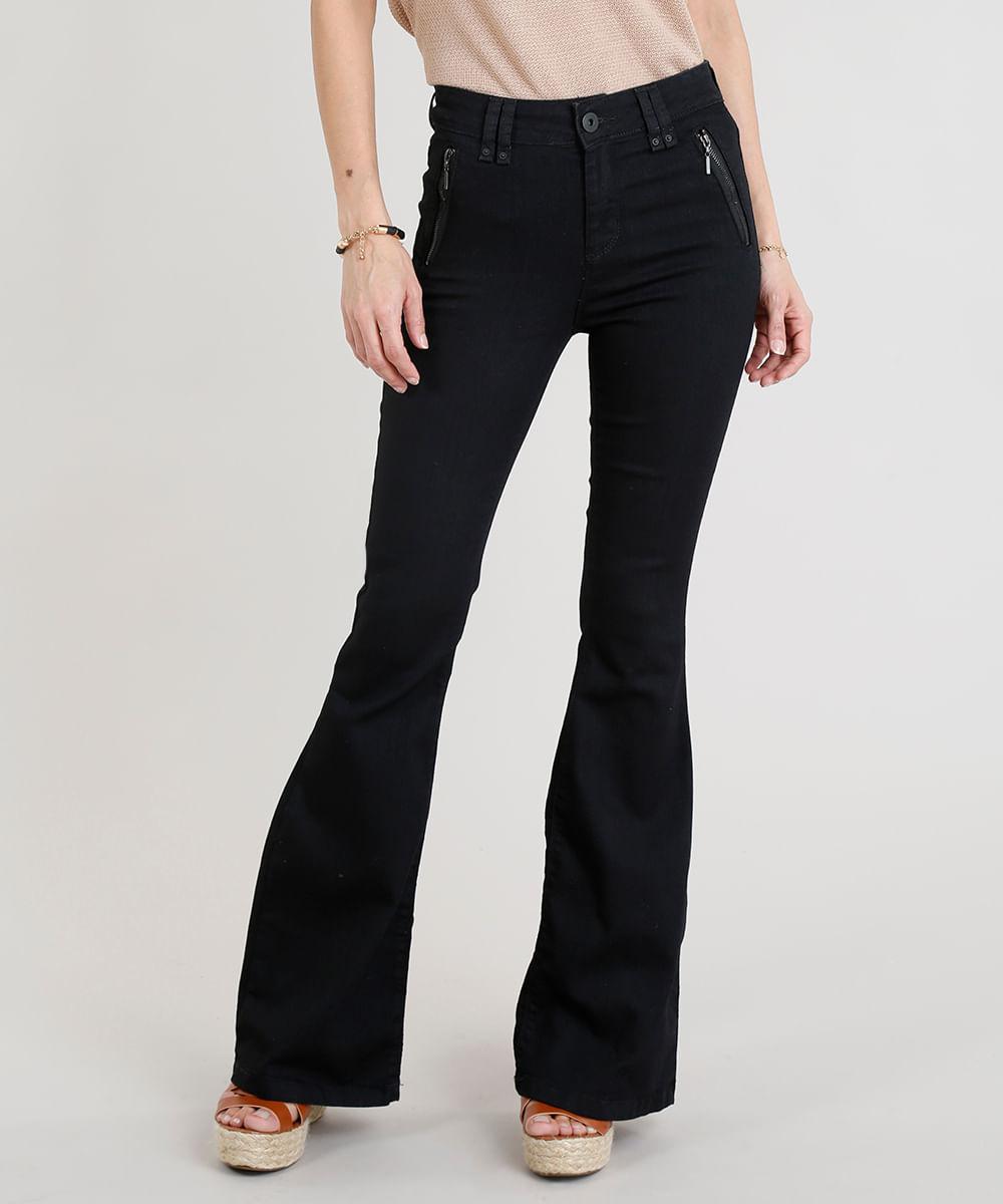 d21928e1d ... Calca-Jeans-Feminina-Flare-com-Ziper-Preta-9263435-