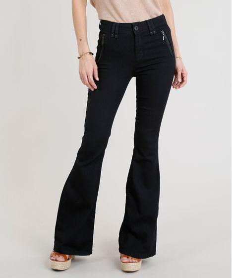 6454bf7f0 Calca-Jeans-Feminina-Flare-com-Ziper-Preta-9263435- ...