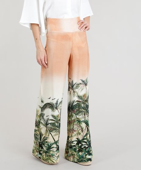Calca-Feminina-Pantalona-Estampada-de-Coqueiros-Bege-9302622-Bege_1