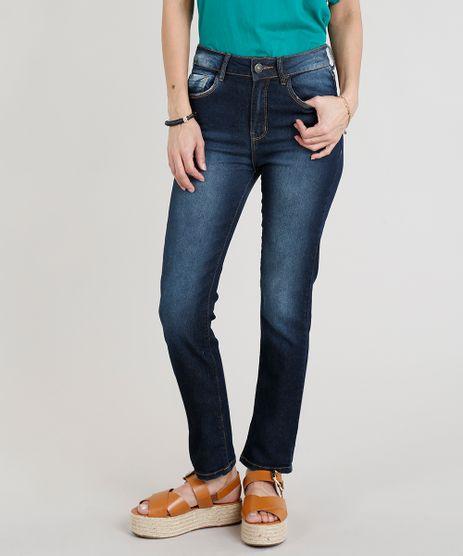 Calca-Jeans-Feminina-Reta-Cintura-Alta-Azul-Escuro-9297796-Azul_Escuro_1
