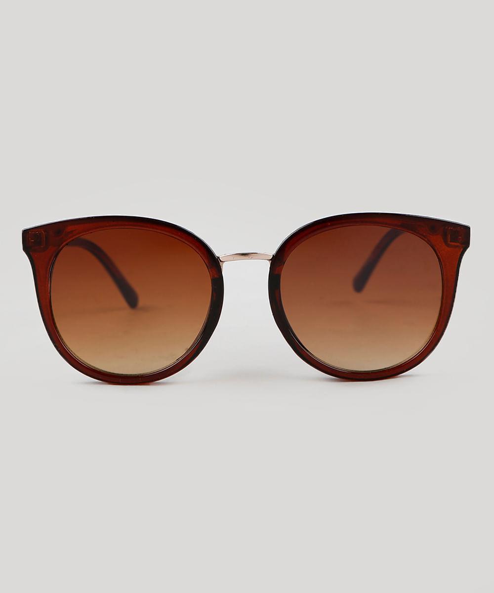 d3a9c9ab91 Óculos de Sol Redondo Feminino Oneself Marrom - ceacollections