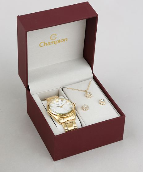 Kit-de-Relogio-Analogico-Champion-Feminino---Colar---Brinco---CN29865H-Dourado-9375620-Dourado_1