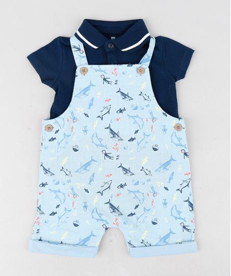 94d7f60ef Conjunto Infantil de Body Polo Manga Curta Azul Marinho + Jardineira ...