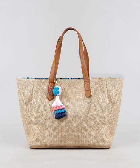 Bolsa-de-Praia-Feminina-Shopper-de-Palha-com-Pompom-e-Tassel-Bege-9266802-Bege_1