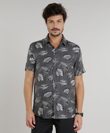 Camisa-Masculina-Estampada-de-Folhagem-Manga-Curta-Cinza-9146544-Cinza_1