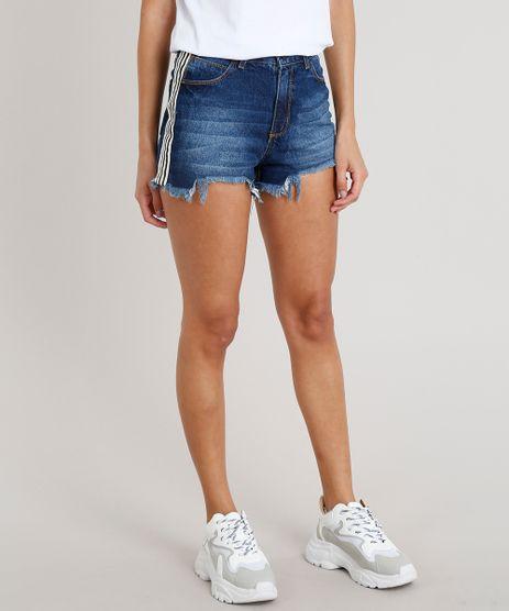 Short-Jeans-Feminino-Vintage-com-Faixa-Lateral-Listrada-Azul-Escuro-9010656-Azul_Escuro_1