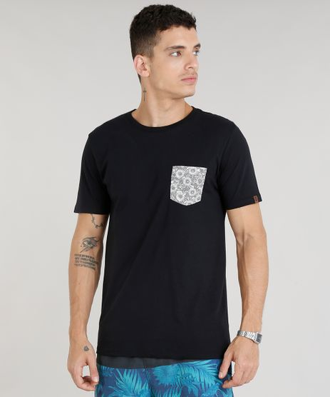 Camiseta-Masculina-com-Bolso-Estampado-Floral-Manga-Curta-Gola-Careca-Preta-9304001-Preto_1