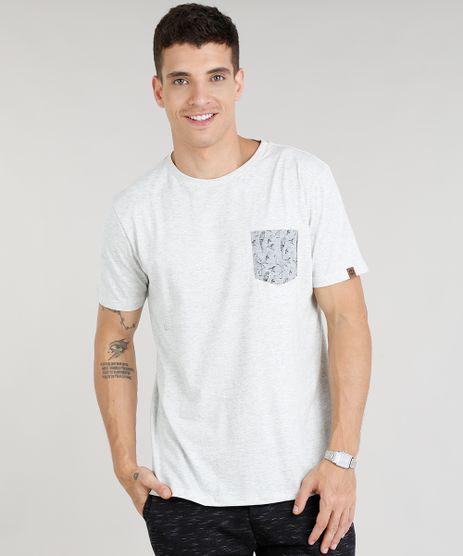 Camiseta-Masculina-com-Bolso-Estampado-de-Passaros-Manga-Curta-Gola-Careca-Cinza-Mescla-Claro-9304002-Cinza_Mescla_Claro_1