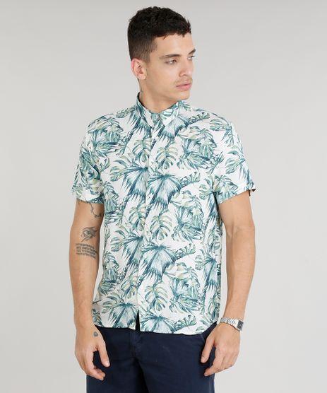 Camisa-Masculina-Estampada-de-Folhagens-Manga-Curta-Bege-Claro-9303652-Bege_Claro_1