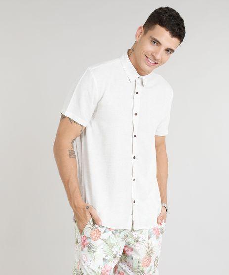Camisa-Masculina-em-Linho-Manga-Curta-Bege-Claro-9303653-Bege_Claro_1
