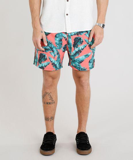 Short-Masculino-Estampado-de-Folhagens-com-Cordao-e-Faixa-Lateral-Coral-9308696-Coral_1