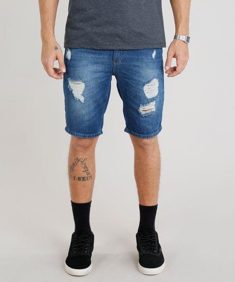 Bermuda-Jeans-Masculina-Slim-Destroyed--Azul-Medio-9335202-Azul_Medio_1