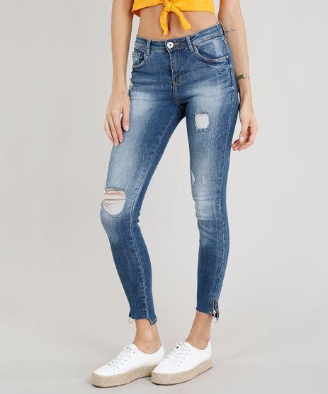 Calca-Jeans-Feminina-Cigarrete-Destroyed-com-Ziper-na-Barra-Azul-Escuro-9113407-Azul_Escuro_1