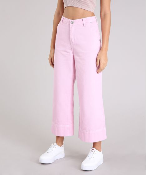 3b36817670 Calça Jeans Feminina Mindset Pantacourt Cintura Alta Rosa - cea