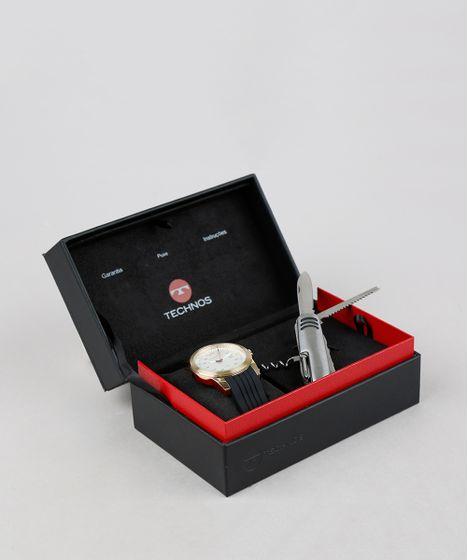 a0514552411 Kit de Relógio Analógico Technos Masculino + Canivete - 2117LAJK8B Dourado  - cea
