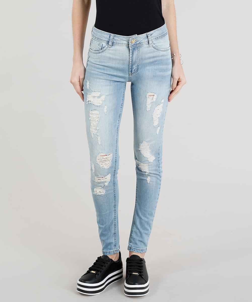 Calça Jeans Feminina Sawary Super Skinny Destroyed Azul Claro ... 77c0d49765b50