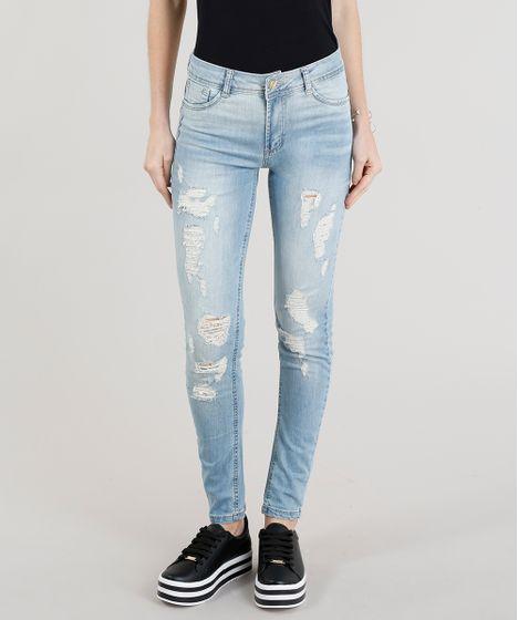 f2a004e4a Calça Jeans Feminina Sawary Super Skinny Destroyed Azul Claro - cea