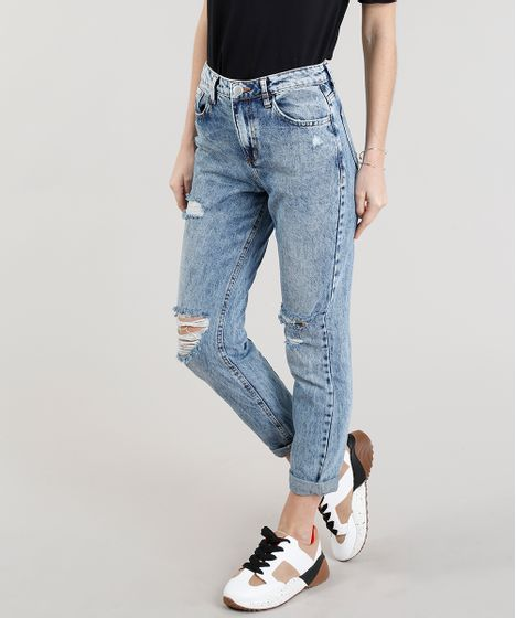 cf097bc87 Calça Jeans Feminina Mom Pants Destroyed Marmorizada Azul Médio - cea