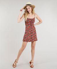 b2f36cb41 ... Vestido-Feminino-Curto-com-Botoes-Estampado-Floral-Caramelo- ...
