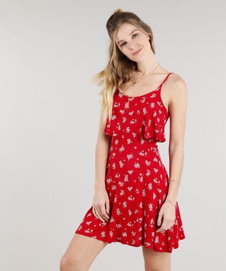 Vestido-Feminino-Curto-Estampado-Floral-com-Babado-Vermelho-9299004-Vermelho_1