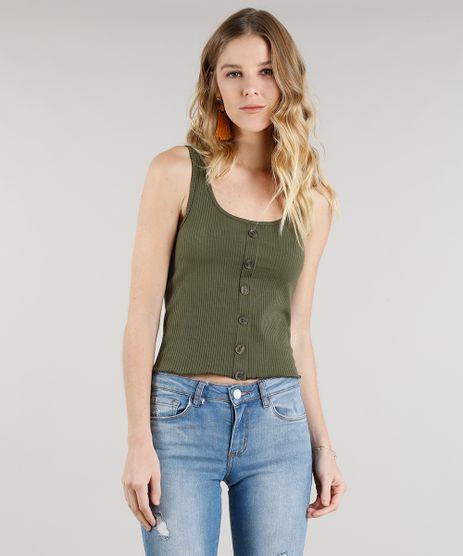 Regata-Feminina-Canelada-Cropped-com-Botoes-Decote-Redondo-Verde-Militar-9257473-Verde_Militar_1