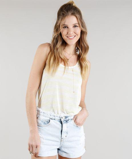 Regata-Feminina-Listrada-Alca-Dupla-Decote-Redondo-Amarela-9301707-Amarelo_1