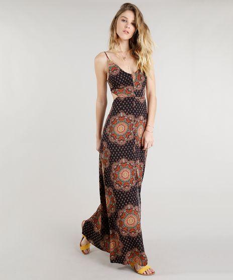 Vestido-Feminino-Longo-Estampado-de-Mandala-com-Fenda-Alcas-Finas-Decote-V-Preto-9185679-Preto_1