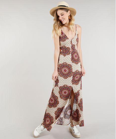 ea8b522ed4 Vestido Feminino Longo Estampado de Mandala com Fenda Alças Finas ...