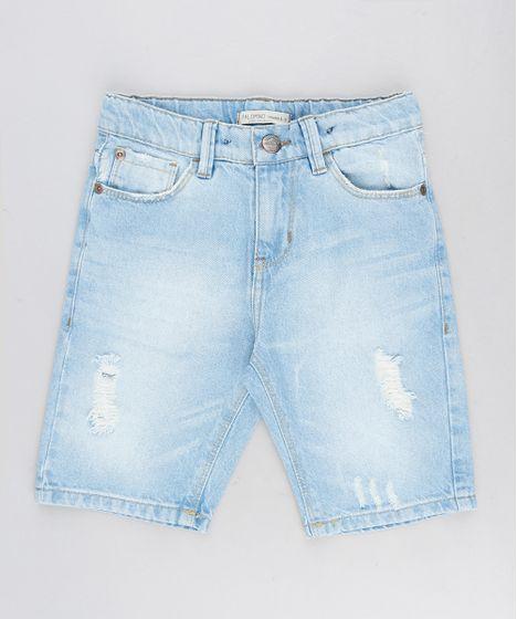 a15fa84f7 Bermuda Jeans Infantil Destroyed Azul Claro Cea