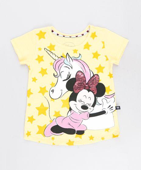 Blusa-Infantil-Minnie-com-Unicornio-e-Paete-Dupla-Face-Manga-Curta-Decote-Redondo-Amarela-9268820-Amarelo_1