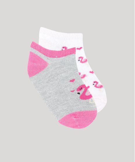 Kit-de-2-Meias-Infantis-Soquete-Estampadas-Flamingo-Multicor-9334697-Multicor_1