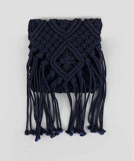 140e14e10 Bolsa Transversal Feminina Dress To Macramê com Franjas Azul Marinho ...