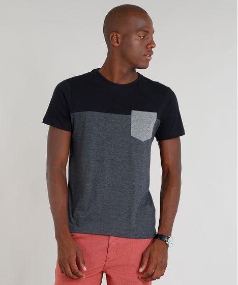 ce5909998 Camiseta Masculina com Recorte e Bolso Manga Curta Gola Careca Cinza ...