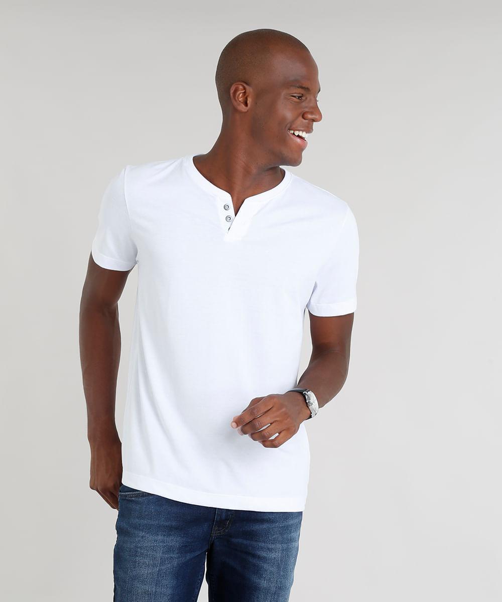 0fb88ffd2 Camiseta Masculina Básica com Botões Manga Curta Gola Careca Branca ...