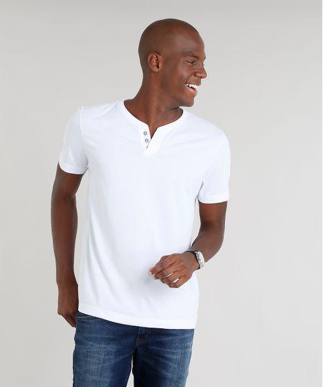 Camiseta Masculina Básica com Botões Manga Curta Gola Careca Branca ... fc9d6dc4100
